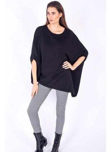 Peraluna Peraluna Siyah Renk Bol Kesim Asimetrik Kadın Triko Tunik Siyah